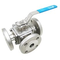 3-Way Body Flanged Ball Valve With Direct Mounting Pad, Floating Ball Valve Q41F-3K