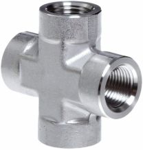 NPT Female Thread Cross Pipe Fitting ZN, Hydraulic Pipe Fitting, Adapter, Hex Nipple